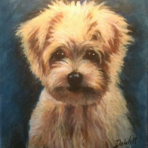 Maltese little dog cute picture painting pet
